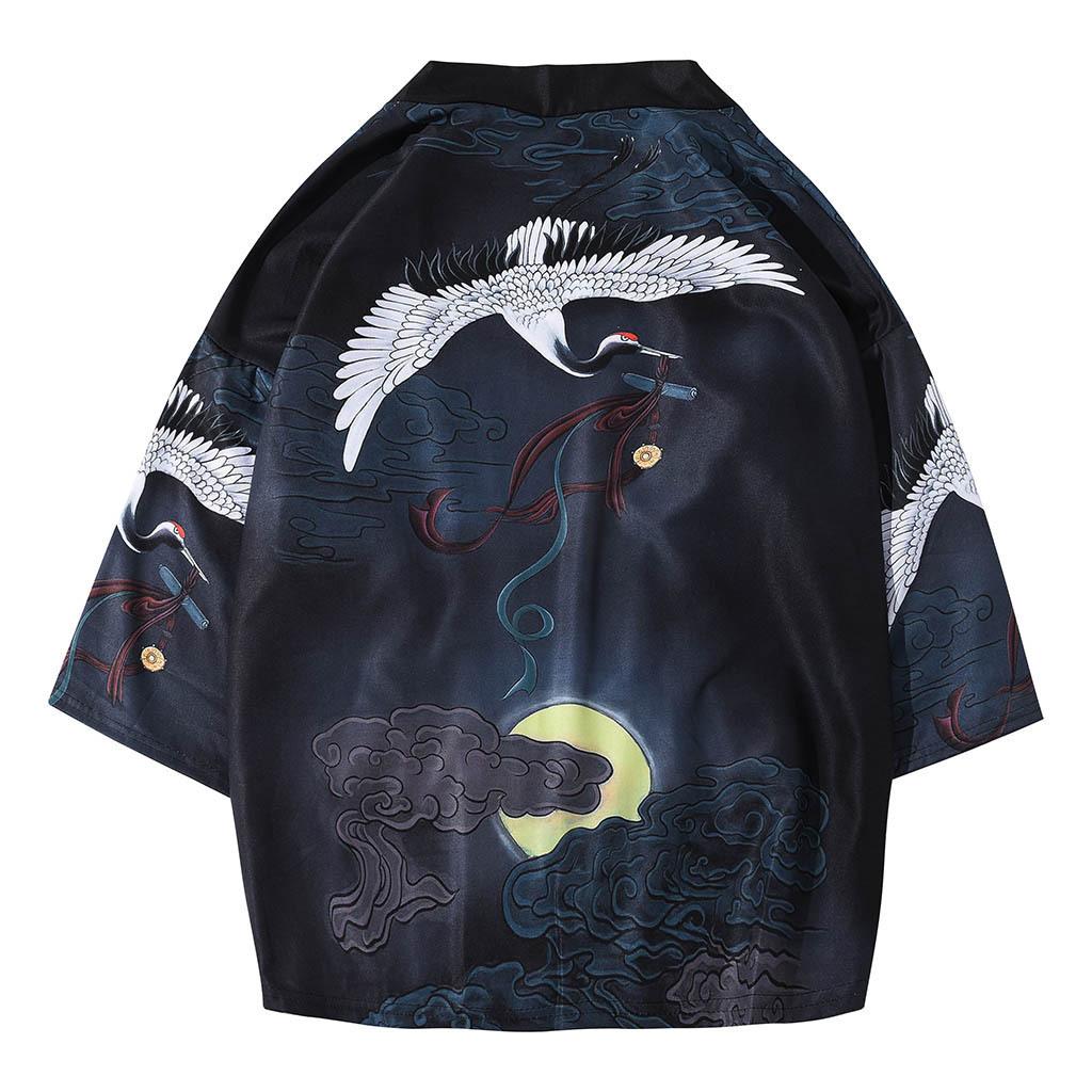 19 cross-border summer clothing explosions foreign trade popular seven-point sleeves kimono crane Japanese Hanfu robes 622
