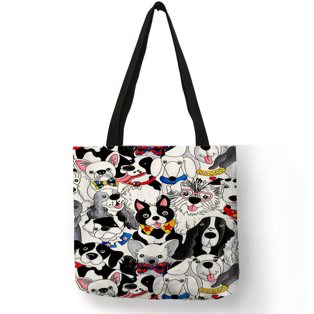 Unique Animal Footprint Cat Puppy Pattern Tote Bag For Girls Ladies Travel Beach Easy Carry Large Capacity Personalized Handbag