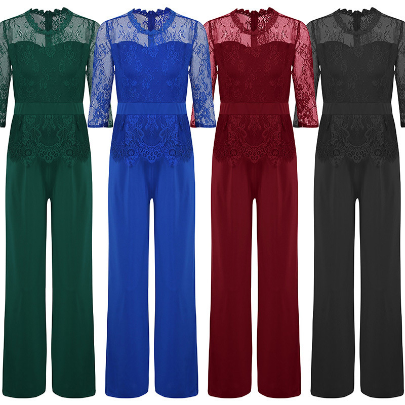 Lace Jumpsuit Women Rompers 2019 Summer Elegant Ladies Office Work Wear Overalls For Women Wide Leg Playsuit Tracksuit Long Pant MX190726