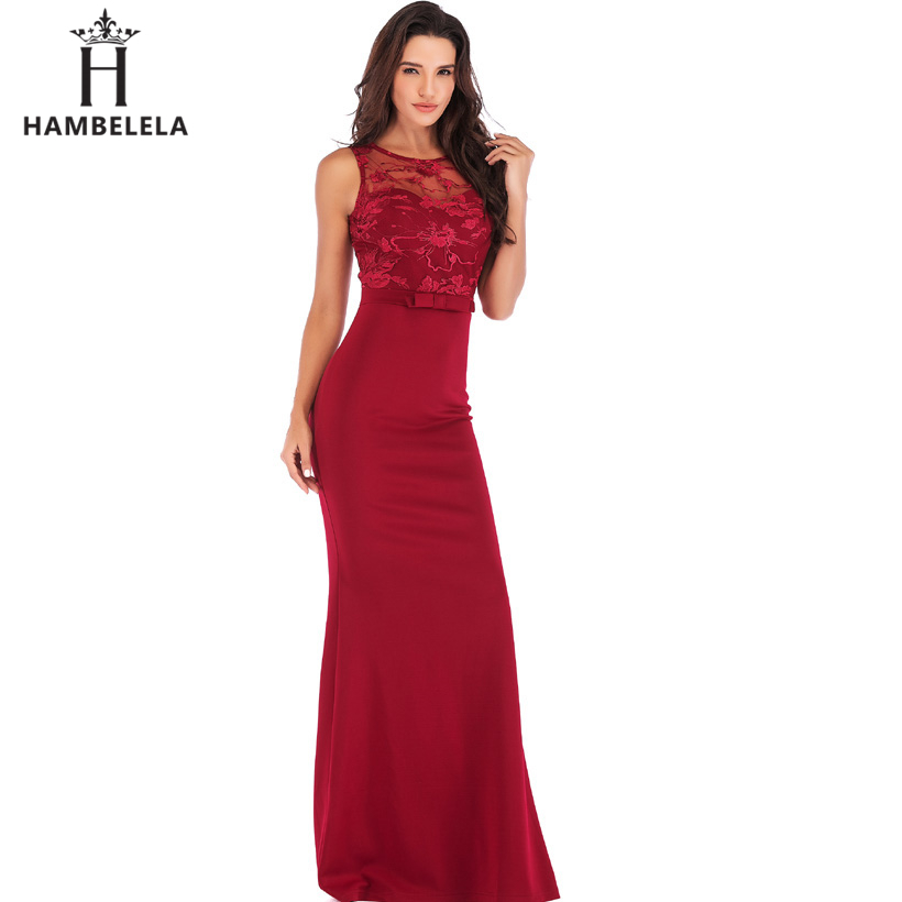 HAMBELELA Long Maxi Backless 2019 Women Dress Summer Evening Party Dresses Sexy O-Neck Elegant Floral Lace Dress Vestidos Longo (13)