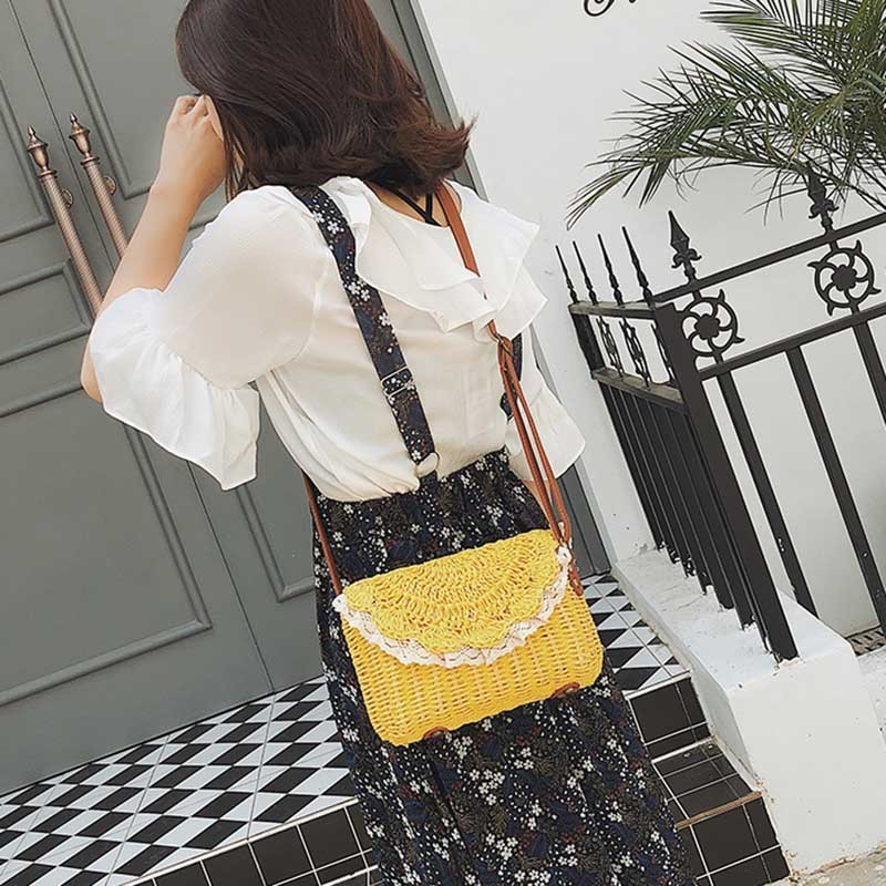 Women Lace Straw Bags INS Popular Female Holiday Handbag Summer Hot Lady Weave Shoulder Bag Travel Beach Casual Bolsa SS3150 (11)