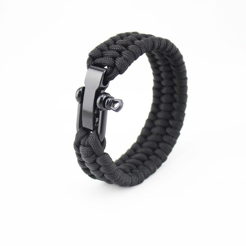 New Paracord Parachute Cord Emergency Survival Hiking Bracelet Mixed Black