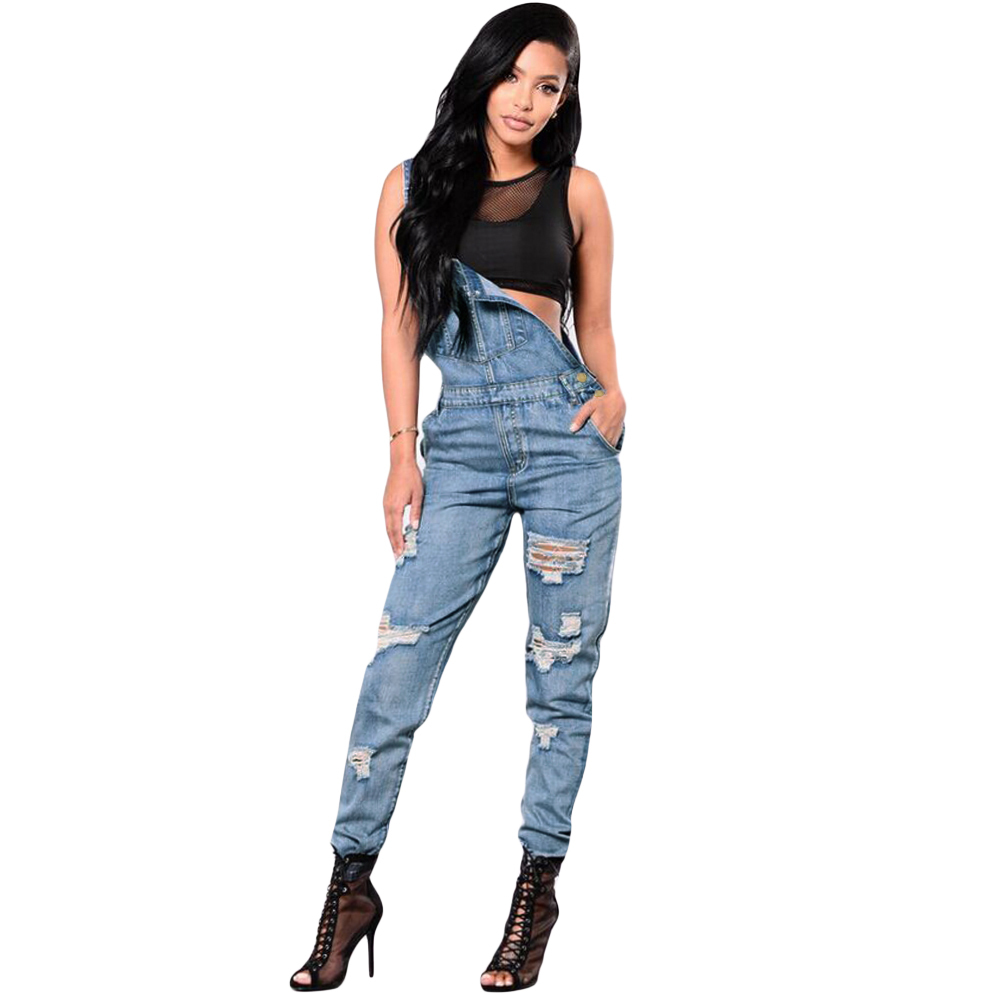 Plus Size Ripped Denim Jumpsuit Women Winter Denim Overalls Pockets Button  Casual Dungarees Long Jeans Playsuit Rompers Female Backless Dresses Ball  ...