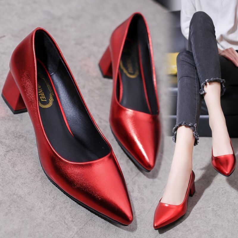 Designer Dress Shoes 2019 new high heels female Korean version of the pointed shallow mouth 5cm women's single fashion sexy work casual