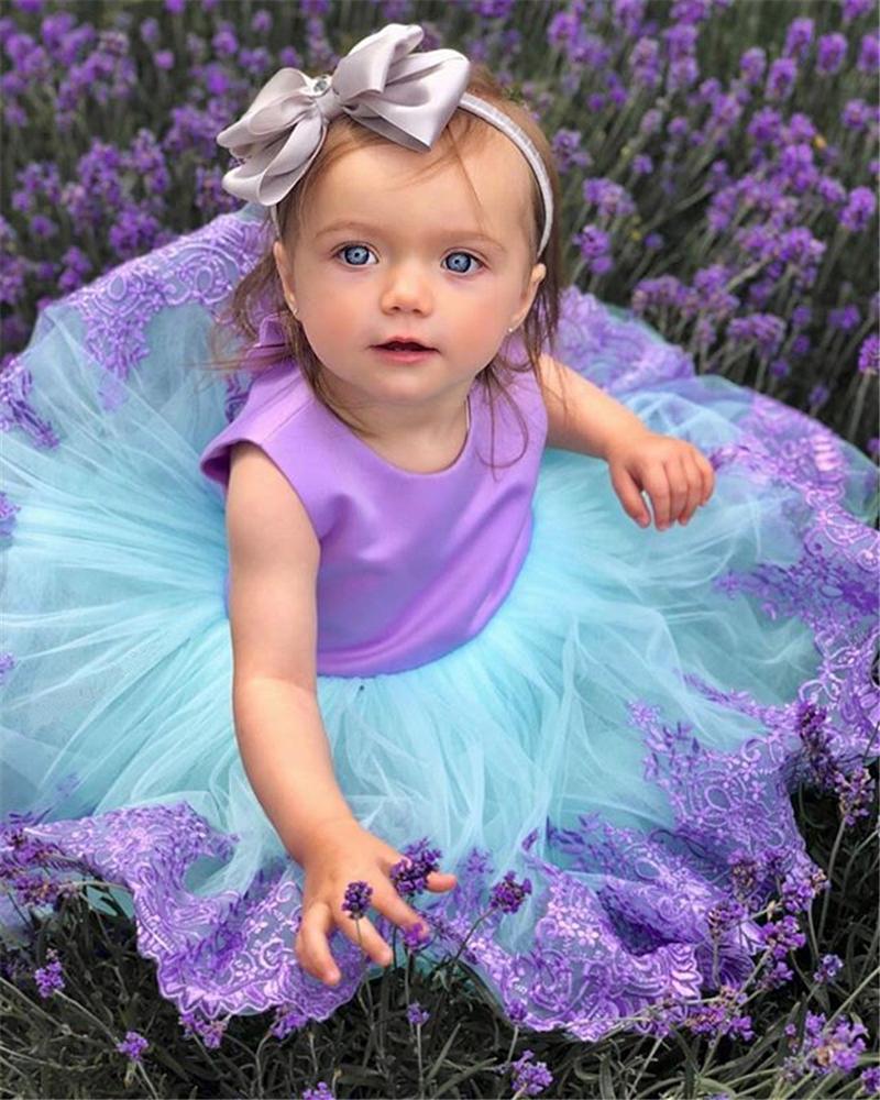 Abiti bambini ragazze pizzo principessa del capretto spettacolo damigella d'onore abito formale prom tutu vestiti della neonata vestiti J190612