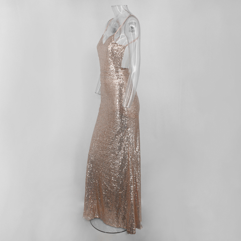 Cosygal Floor Length Maxi Dress Women Evening Party Sequined Dress Sexy Mesh Long Dress Sleeveless Gold Dresses Vestidos Y19073101