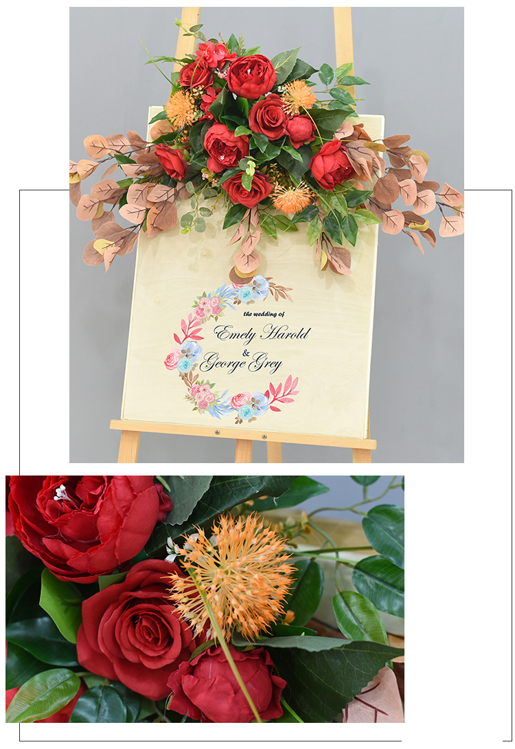 JAROWN Wedding Flower Row Welcome Sign Simulation Floral Hotel Creative Guide Decorations Photography Props Home Door Flower (20)