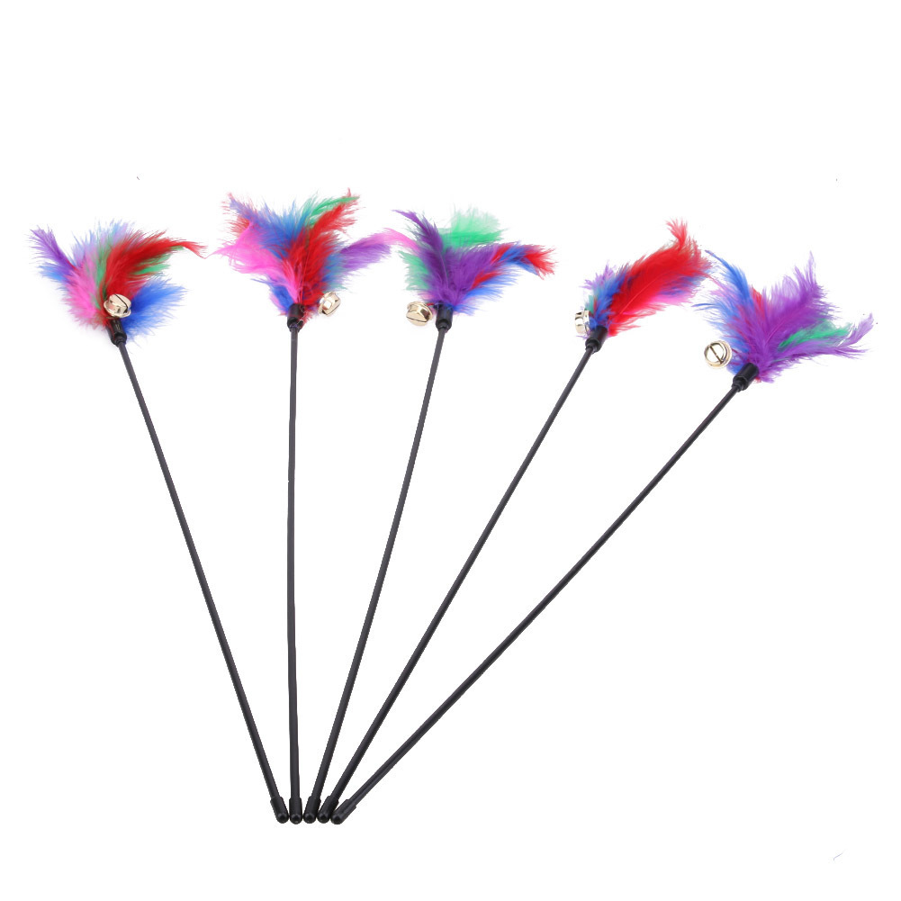 Cat Teaser Colorful Feather Stick Toys For Cat Kitten Pet Turkey Interactive Wire Chaser Cat Training Pet Supplies
