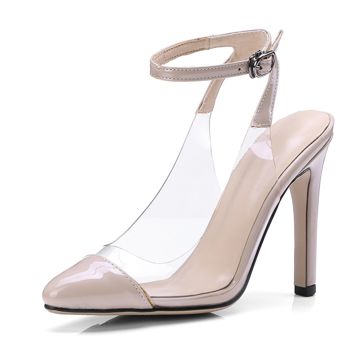 Hot2019 Glue Glass Transparent Sandals High With Baotou Women's Shoes Will 1278-3