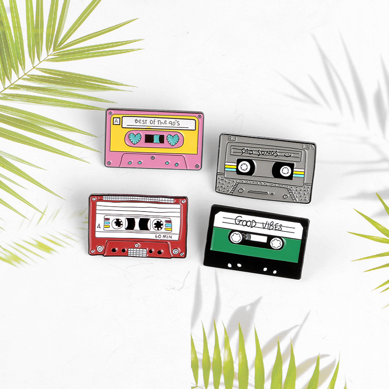 Tape Record Best Of The 90s Purple Cassette Metal Enamel Brooch Personality Creative Badge Pin New Trendy Jewelry Gift