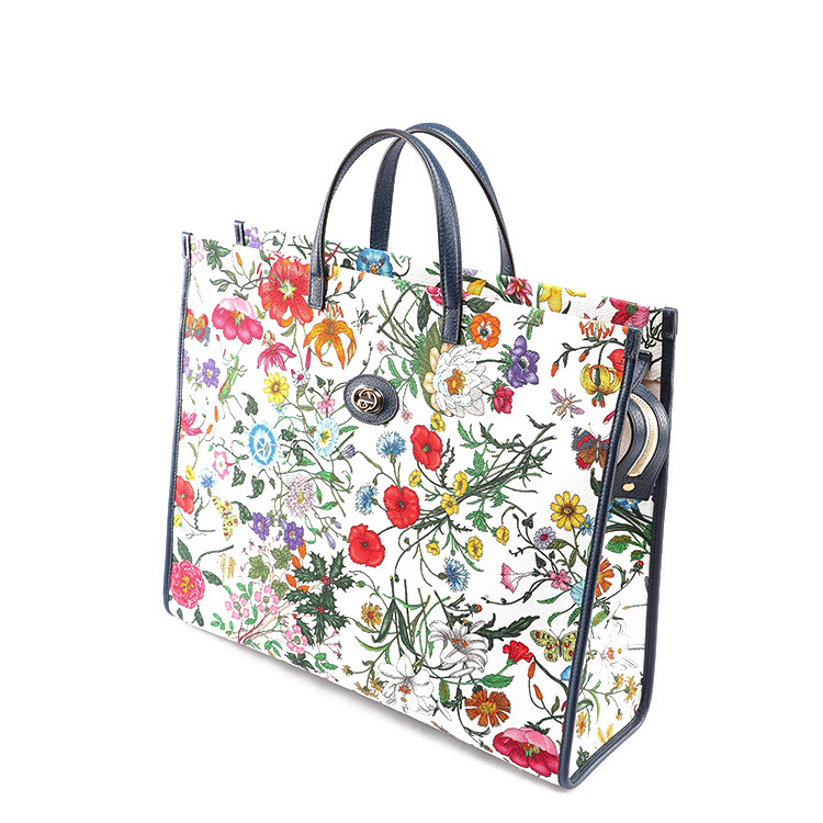 /  19 spring and summer shoulder bag female tote bag flower mixed color handbag 550140/9ZIAX_9061 WHITE