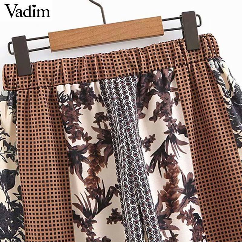 Vadim mujer plaid estampado floral pantalones patchwork bolsillos elásticos cintura hasta el tobillo femenino pantalones pantalones KA992 T519053003