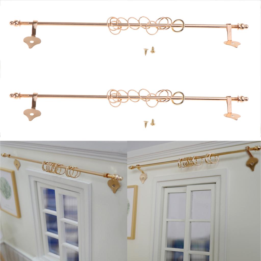 anillos de cortina Cuatro casas de Muñecas Ajustable barras de cortina barras postes con ganchos