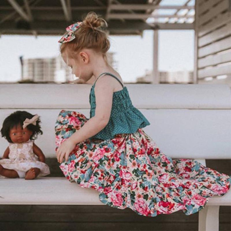 Shorts Suits 2pcs Newborn Baby Girl Irregular Lower Hem Pink T Shirt Floral Dress