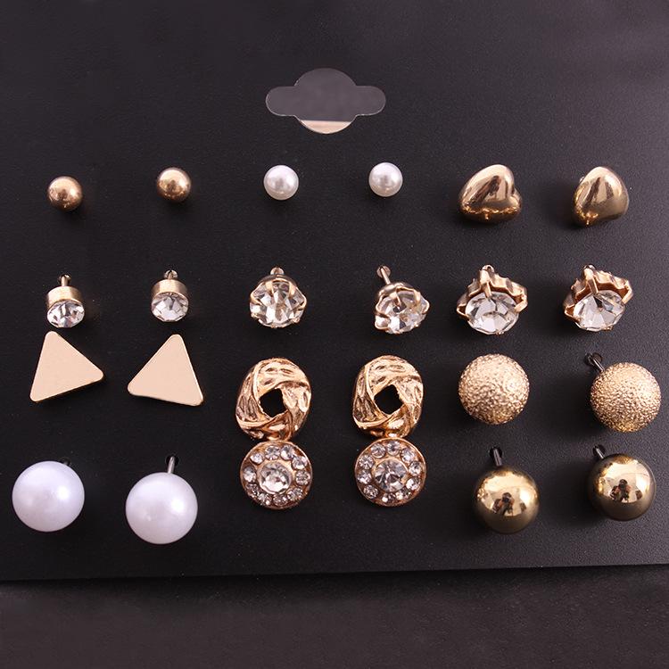 12Pairs//Set Women Girl Crystal Zircon Alloy Earrings Sets  Ear Stud Jewelry LE