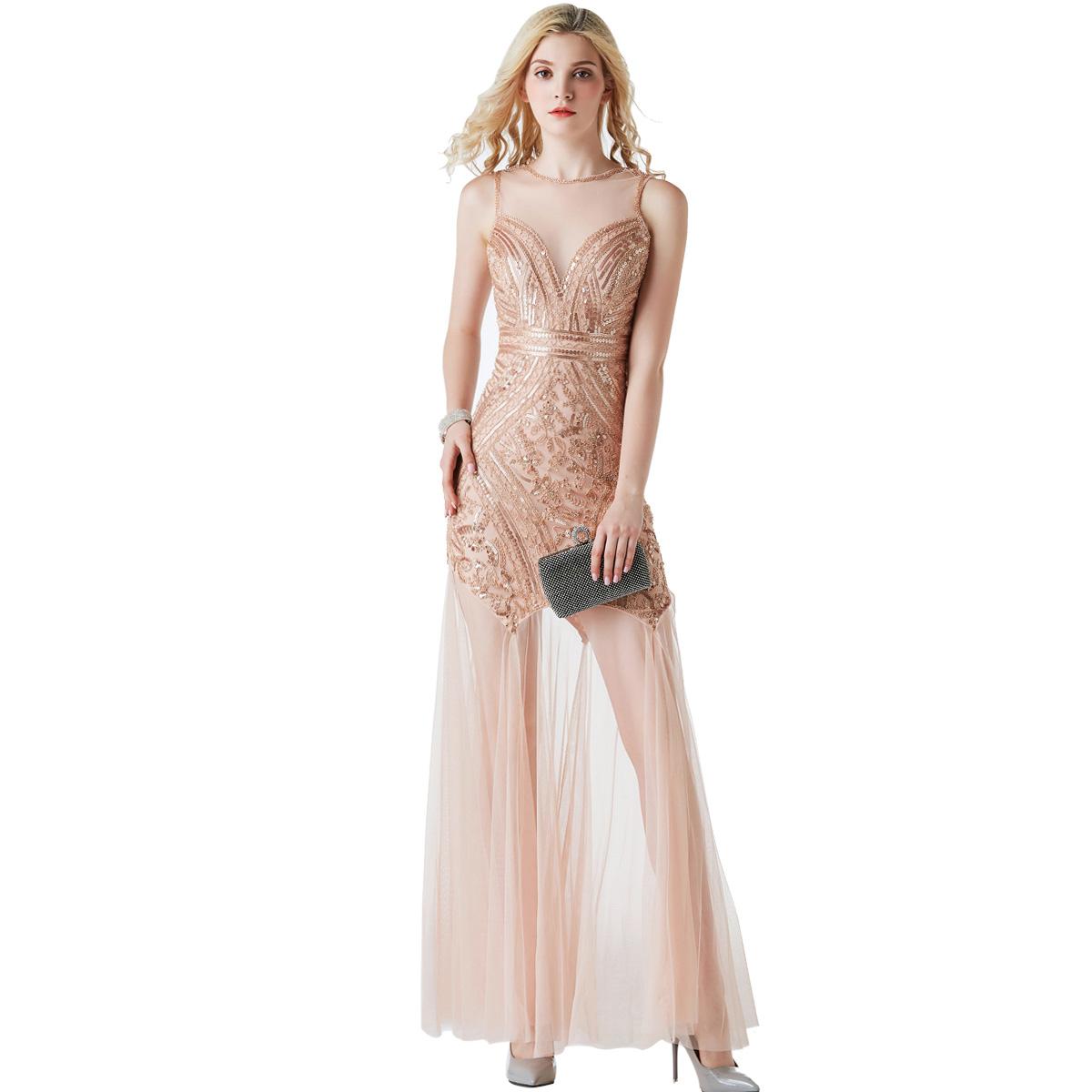 Vintage Wedding Dresses Glasgow: 2019 Sequin Long Evening Dress Formal Party Vintage