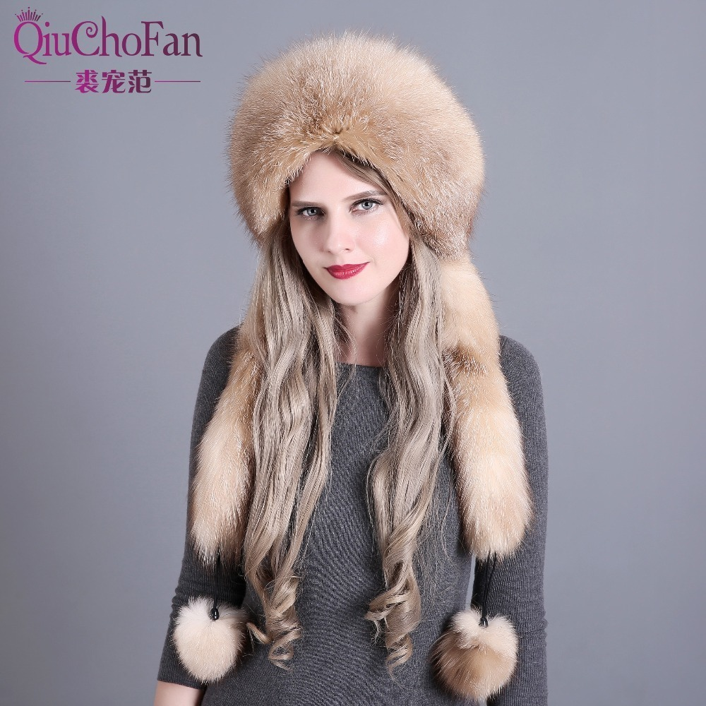 S102 100/% Real Genuine Silver Fox Fur Mongolia Cap Winter Women/'s Hat With Tail