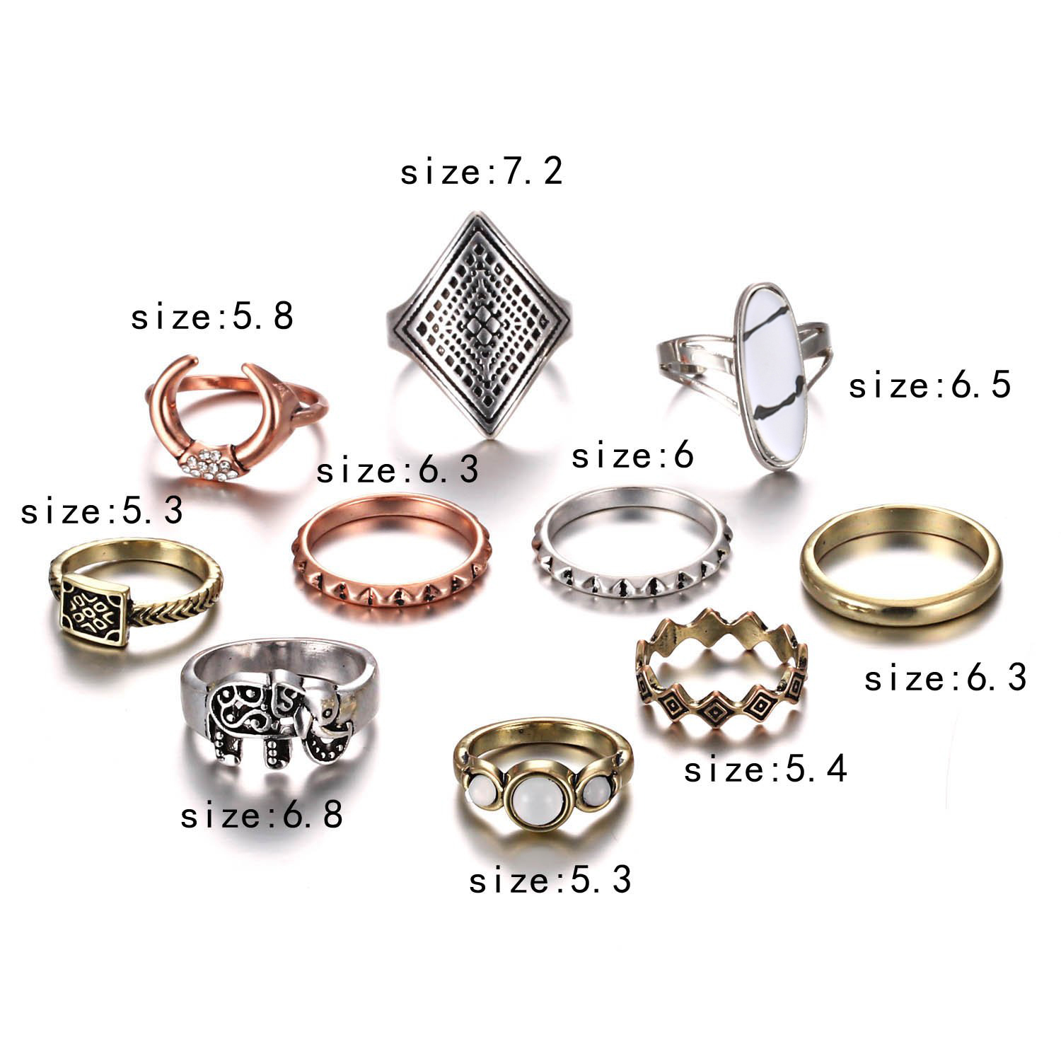 Bohemian Elephant Star Flower Rose Heart Crown Carved Rings Set Gold Silver Crystal Knuckle Finger Midi Ring For Women Jewelry