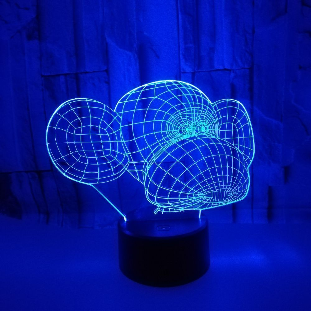 Foreign Trade New Pattern Monkey 3d Lamp Colorful Touch Remote Control 3d Led Vision Desk Lamp Decoration Atmosphere Gift Desk Lamp