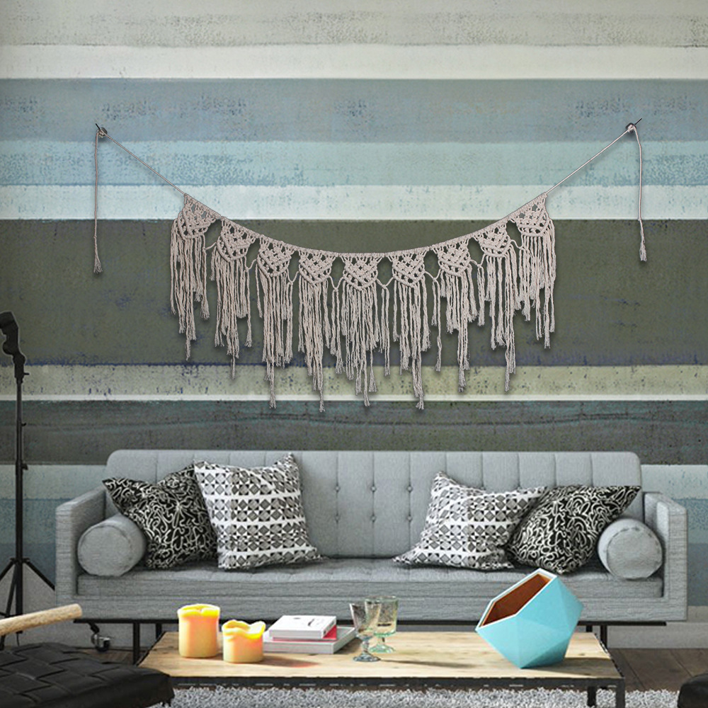 DIY Cotton Tapestries Bohemian Macrame Handmade Knitting Tapestry Wall Hanging Tapisserie Banner Tassel Wedding Home Decoration