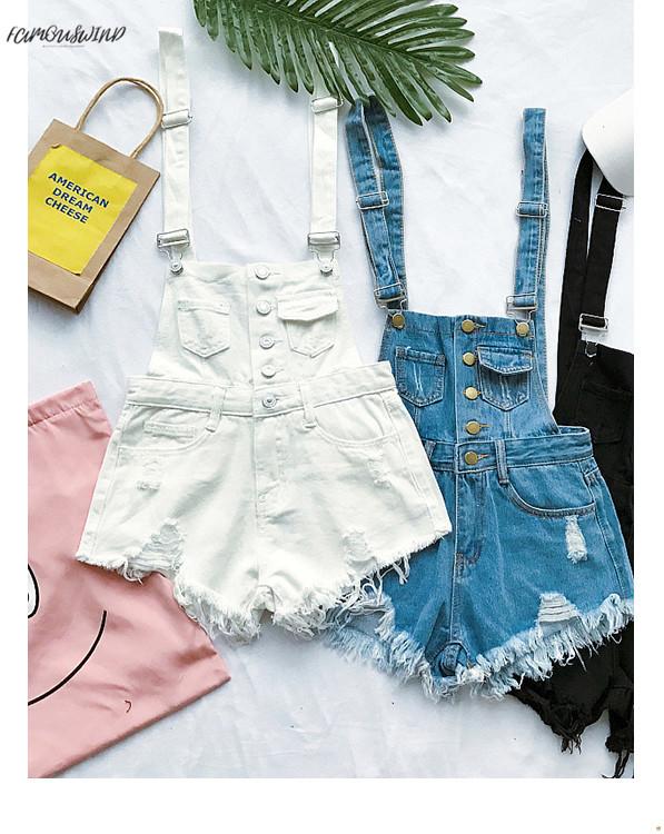New South Korea loose cowboy straps pants summer students high waist holes burr pants pants shorts tide (1)