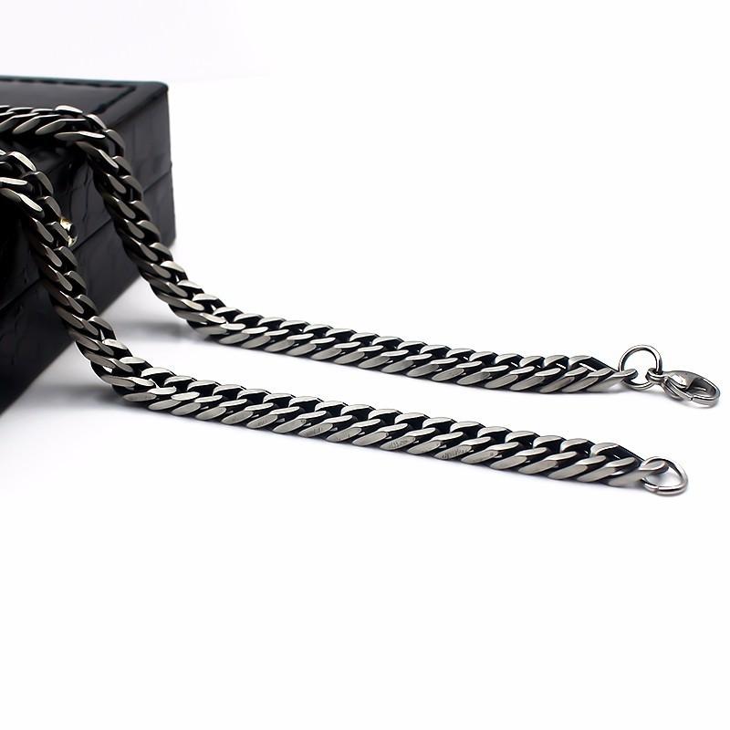 Hot Sale Men Stainless Steel Cuban Link Chain Necklace Antique Black Color 55cm 2018 Latest Fashion Necklaces for Men L-6