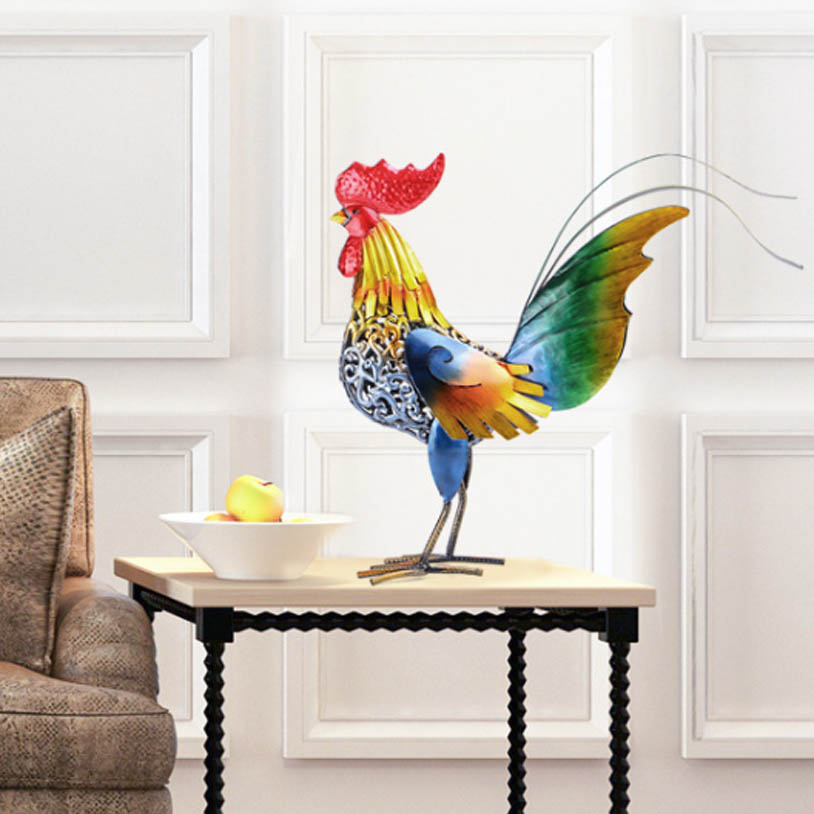 Artificial Feather Colorful Rooster Cock Statue Home Garden Figurine 35cm