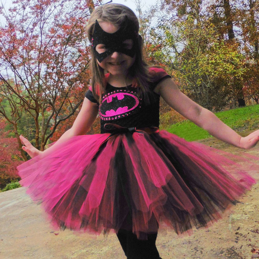 Keenomommy Super Cute Super Hero Tutu Costume Hot Pink Batgirl Girls Tutu Dress with Mask for Cosplay Party Halloween (2)
