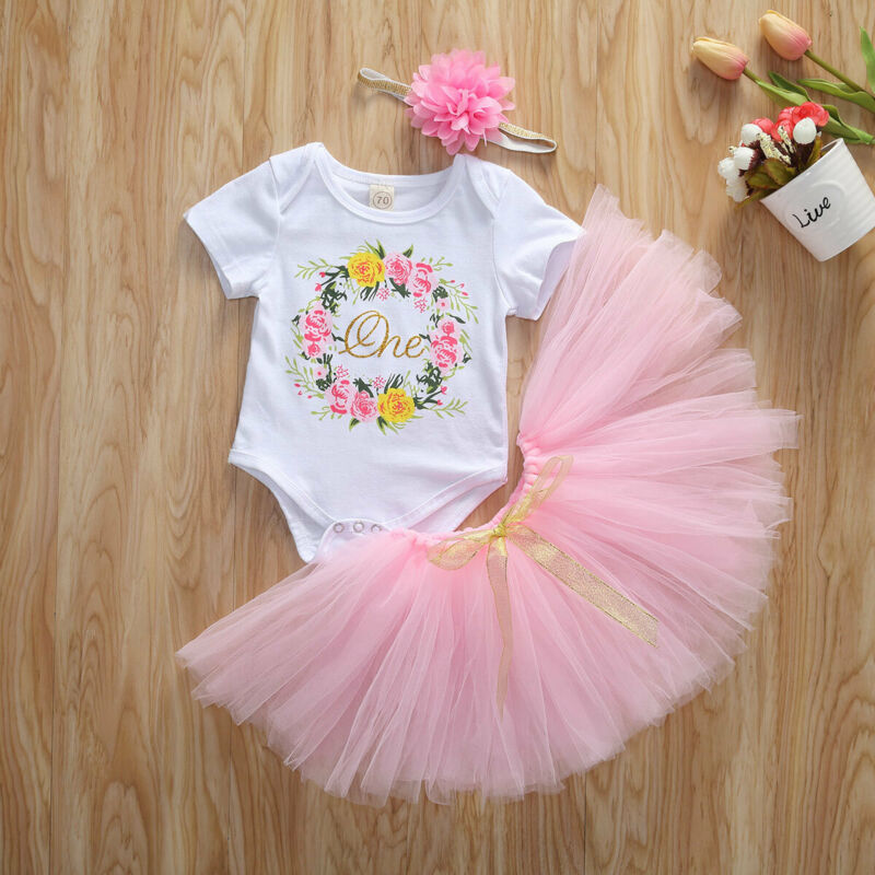 Newborn Baby Girl My 1st Mothers Day Onesie Romper Top Bubble Tutu Skirts Dress Sequins Headband Outfits Set
