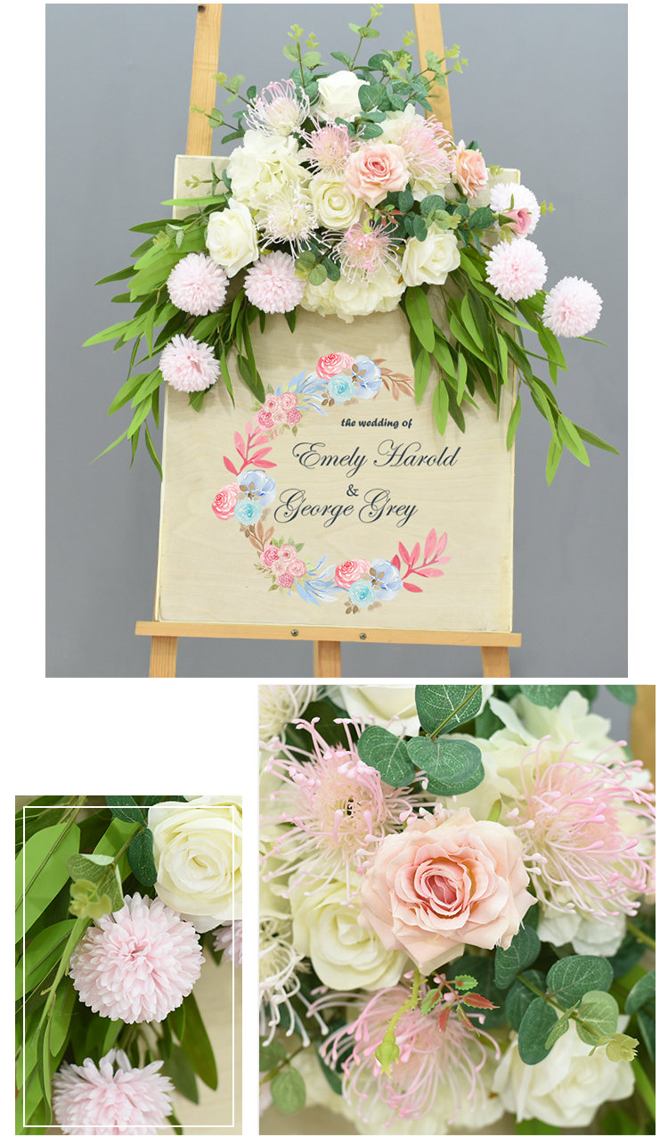 JAROWN Wedding Flower Row Welcome Sign Simulation Floral Hotel Creative Guide Decorations Photography Props Home Door Flower (14)