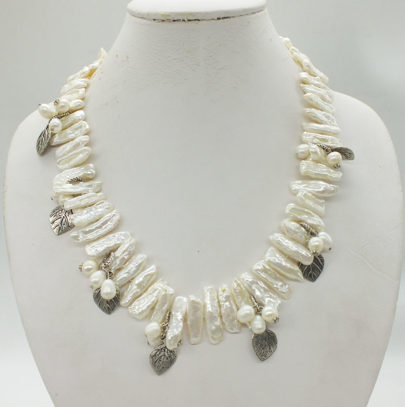 White freshwater biwa pearl knotted necklace 20