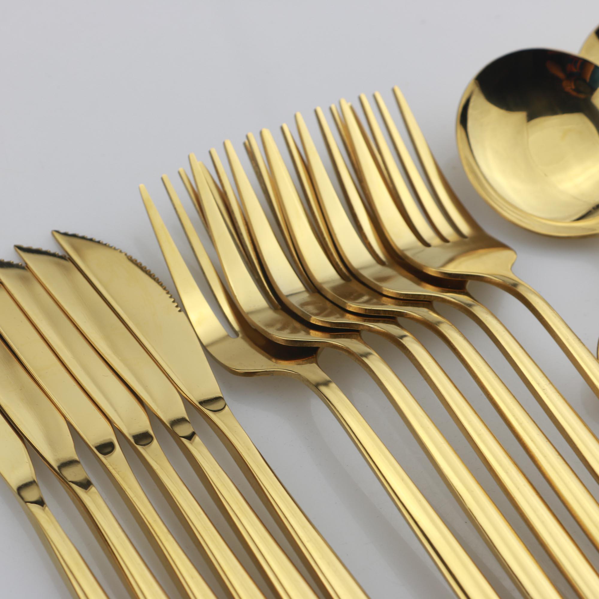 Or Vaisselle Miroir Couverts Ensemble Vaisselle Ensemble 304 Vaisselle En Acier Inoxydable Argenterie Occidentale Cuisine Couteau Cuillère Fourchette Dîner Ensemble