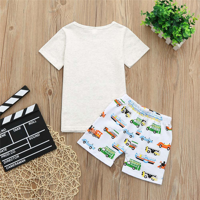 2PCS Baby Sets Toddler Kids Baby Boy Girl Short Sleeve Letter T-shirt Top+Cartoon Car Short Pants Set Baby Clothes M8Y21#F (6)