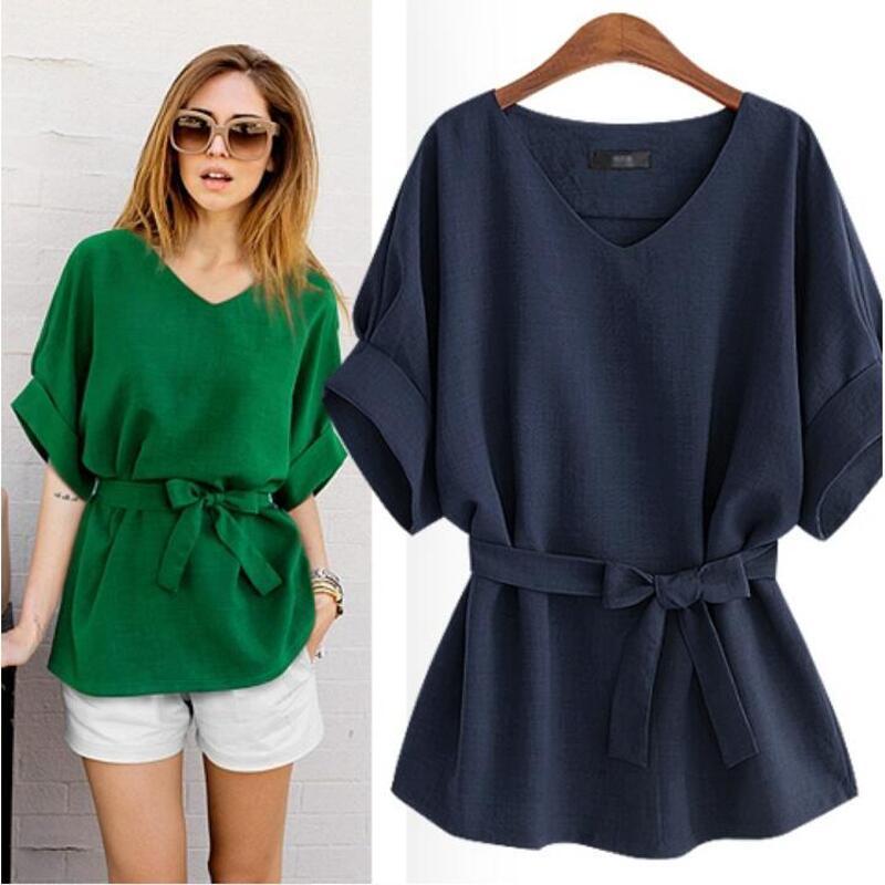 Luoyifxiong-XL-5XL-Plus-Size-Blouses--Summer-Shirt-Women-Tops-Linen-Tunic-V-Neck-Big (1)