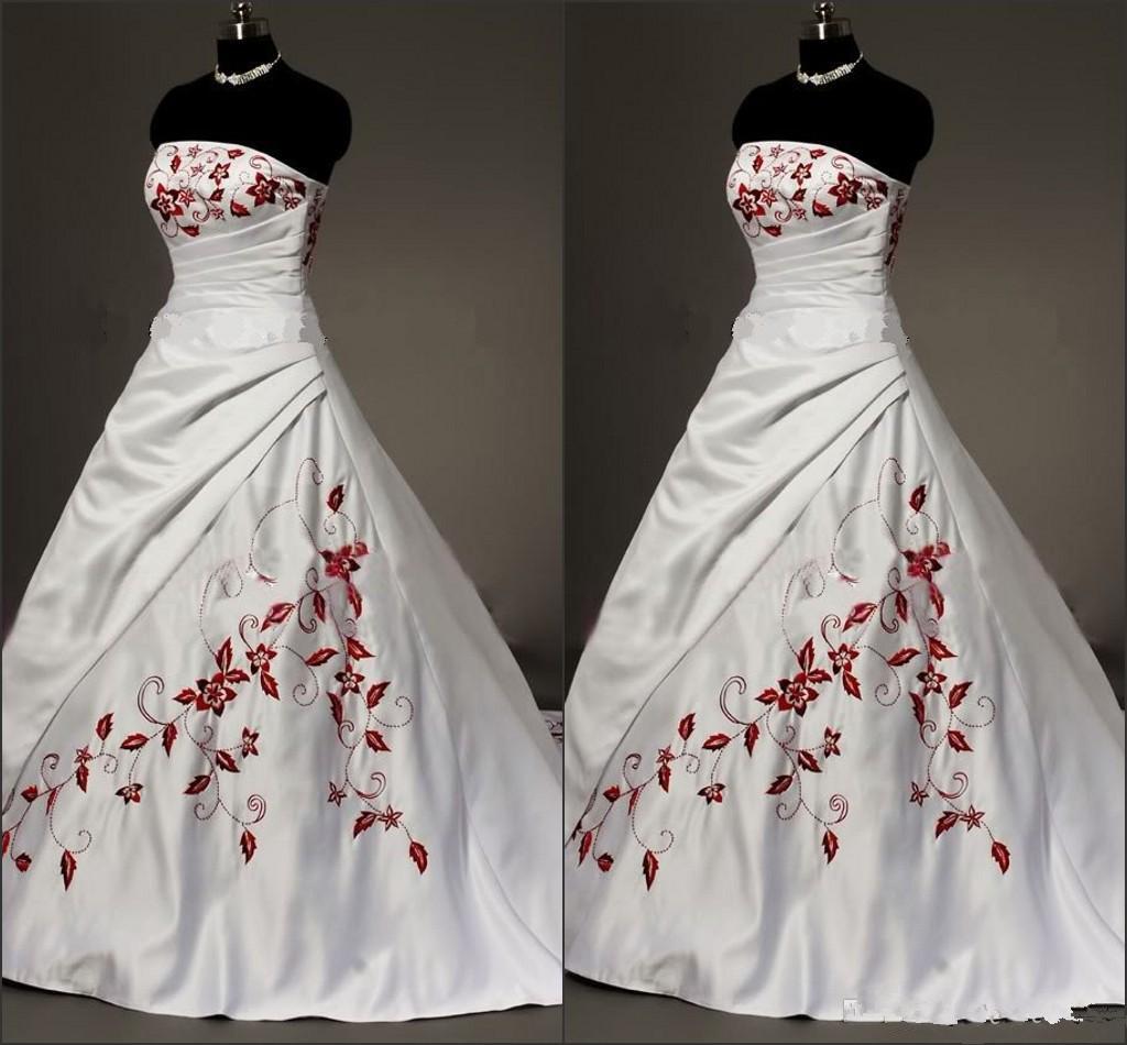 White Satin Rot gestickte Brautkleider Übergröße Ballkleid für die Braut  15 trägerlose Lace-up-Falte drapierten Jahrgang Brautkleider