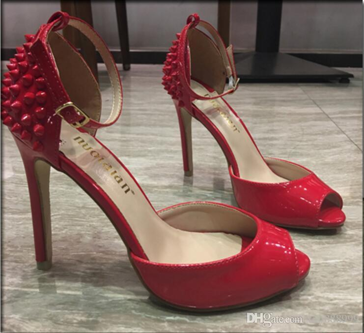 overseas2019 {Original Box}10cm Heel Red Bottom Heels Dress Shoes Sexy Rivets Spiked Open Toe Stiletto Sandals 34-41