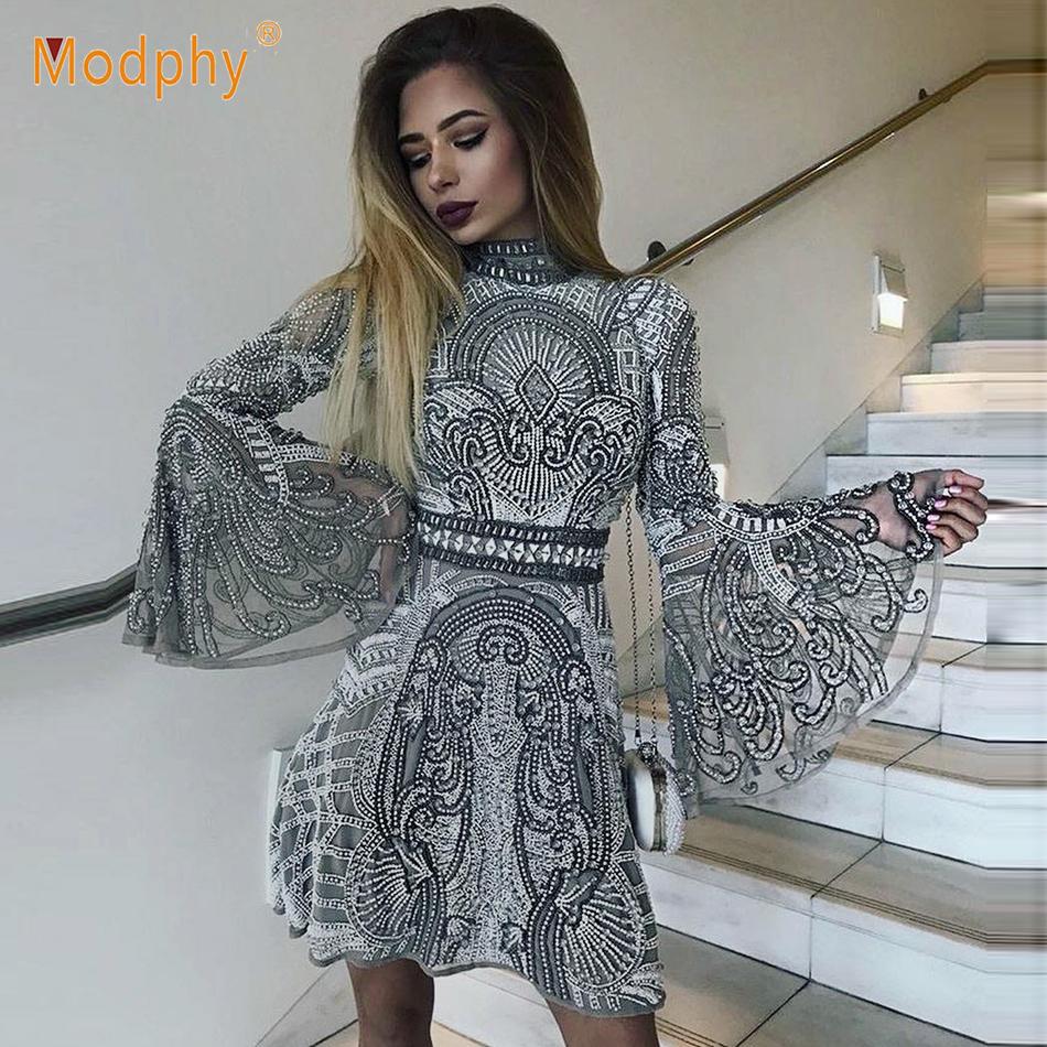 20612b9caab10 2019 Spring New High Quality Sequin Dress Long Sleeve High Collar A Word  Mini Dress Celebrity Show Catwalk Party Dress Vestidos D190111205 Womens ...