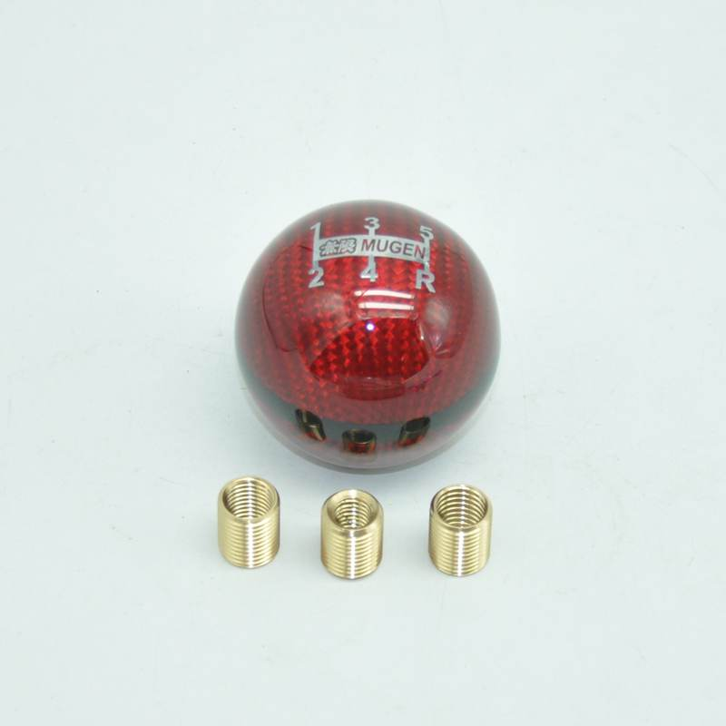 Red Gorgeri Knob Red Speed Shift Universal Car Gear Shift Knob PU 6 Speed Gear Shift Knob Shifter Stick Head with 3 Hoses