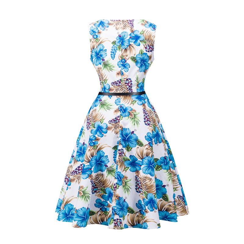 Kostlish 2017 New Summer Dress Women Floral Print Audrey Hepburn 50s 60s A-Line Vintage Dress Sleeveless Party Dresses Plus Size (81)