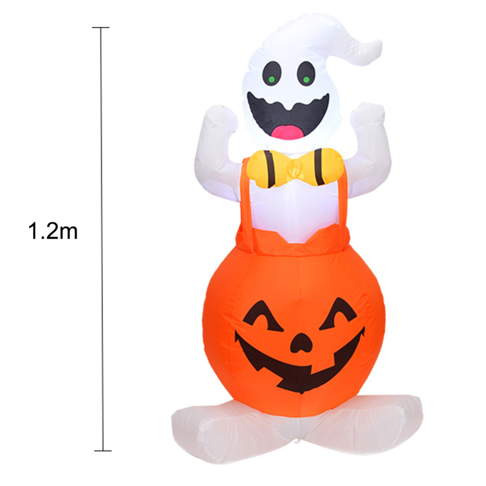 Halloween Inflatable Blow Up Ghost on Pumpkin Halloween Outdoor Yard Decor Pumpkin with Light for Party