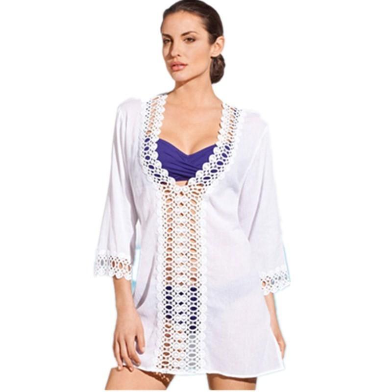 Women Fashion Summer Beach Dress Swimwear Beach Cover Up Sarong Sexy Wrap Pareo Sheer Lose in White L38197-2 800x800
