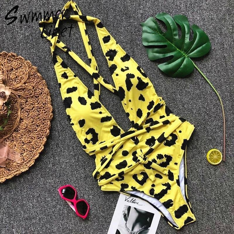 Sexy Bandage Leopard Costume intero Costumi da bagno estivo Costume da bagno bikini con scollo profondo Giallo Costume da bagno femminile 2018 High Cut Bathers C19030201