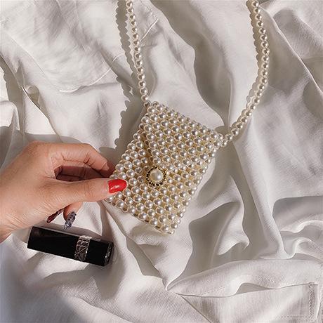 Handmade Beaded Pearls Bags For Women's Bags Elegant Acrylic Beads Bag Women Shoulder Bag Evening Clutch Phone Purses Ladies