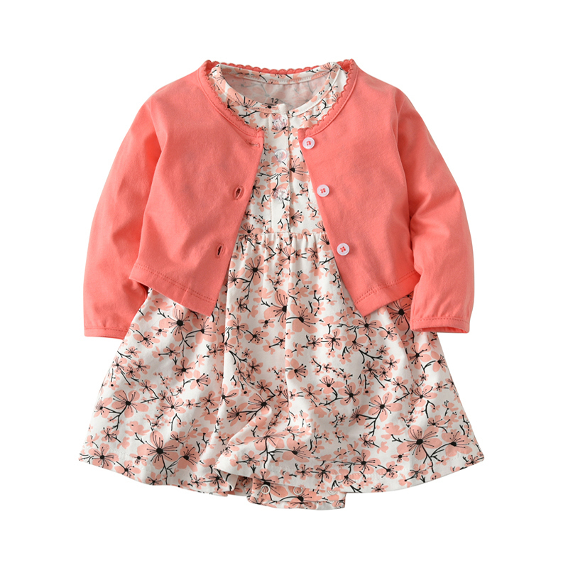 New 2018 Summer Baby Sets Infant Baby Girls Clothes Cute Bodysuit + Dress 2pcs Baby Sports Suit Cotton Imported Clothing