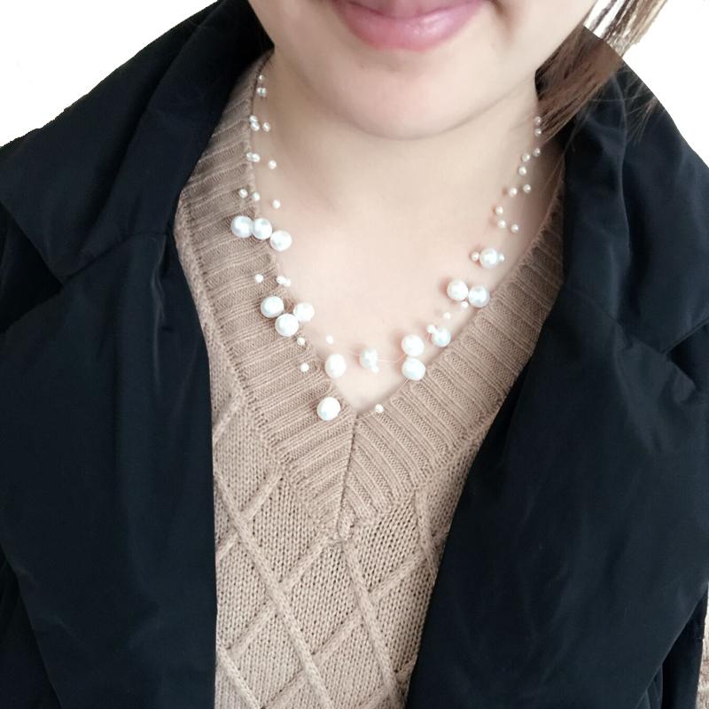 Hakiki Tatlısu Çok Katmanlı Inci Kolye Kadın, moda Doğal Gerdanlık Kolye Kızlar Takı Beyaz Gelin Düğün Hediyesi E02 Y19061003
