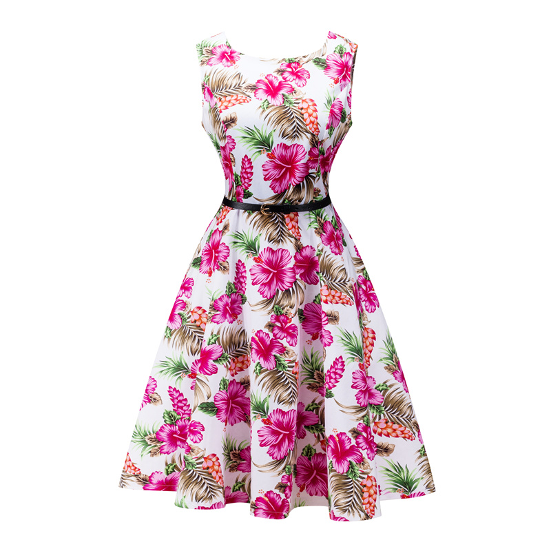 Kostlish 2017 New Summer Dress Women Floral Print Audrey Hepburn 50s 60s A-Line Vintage Dress Sleeveless Party Dresses Plus Size (104)