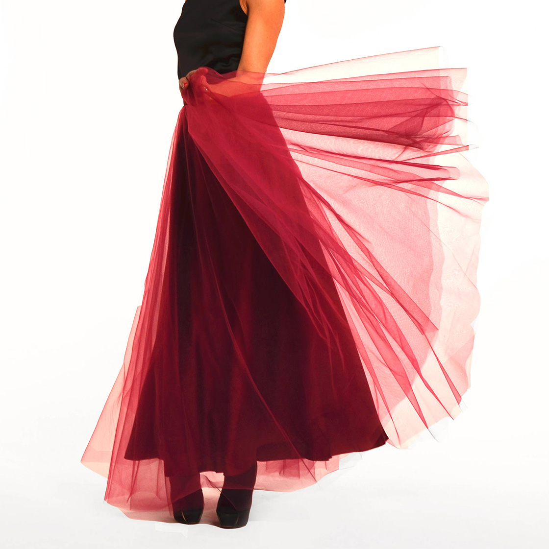 Custom Graceful Long Tulle Skirts 5 Layers Wine Red Soft Secret Bridesmaid Skirts Vintage Floor Length Wedding Party Skirt