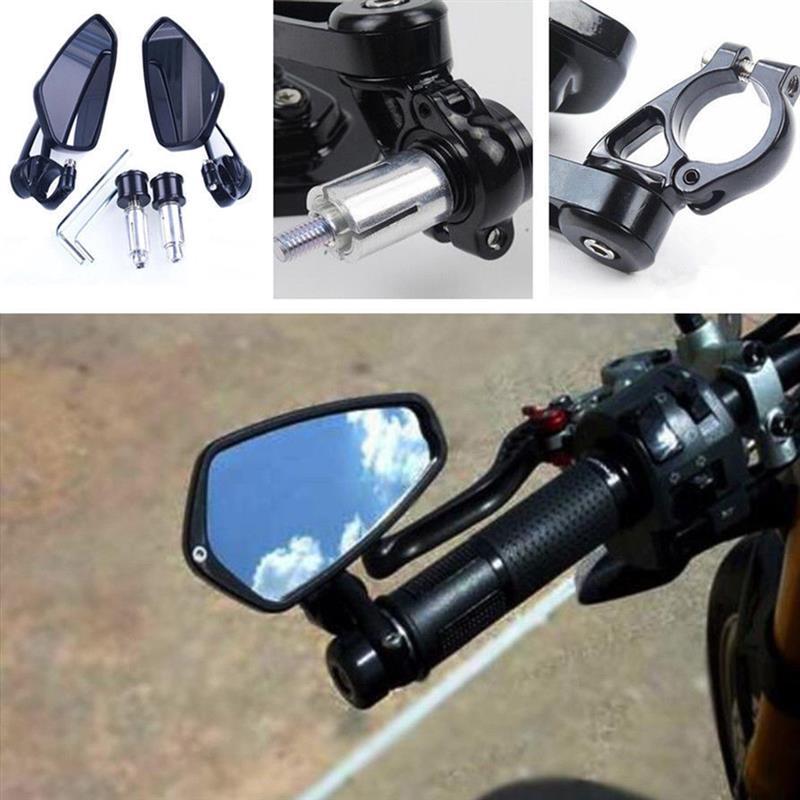 Para manillar de motocicleta de 22mm 7//8  Espejos retrovisores laterales de barra de aluminio para Yamaha para Kawasaki para Cafe Racer Bobber Chopper