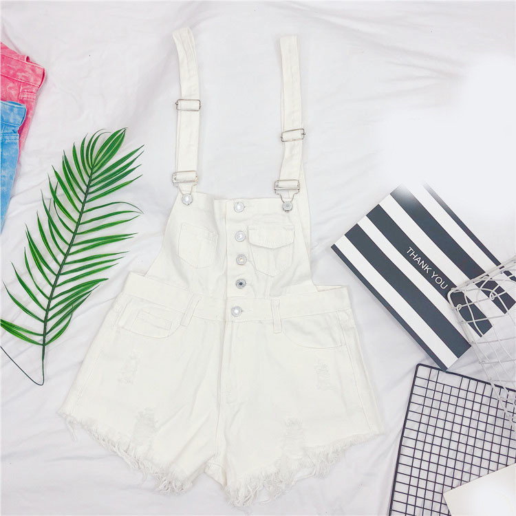 The new loose-fitting Korean version of the springsummer 2017 denim suspenders for female students shows a trend of slim, worsted fringed tassel shorts (6)