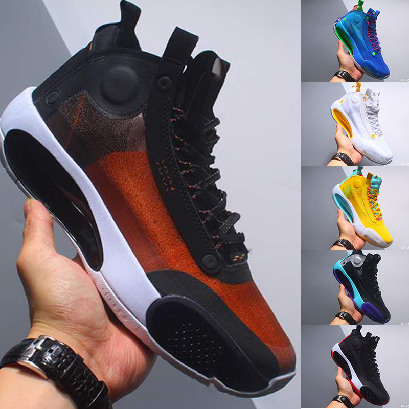 New Jumpman 34 XXXIV Or Bleu USA Noir Blanc Graffiti Chaussures de basket ball pour hommes aj 34s Zion Williamson Sport Designer Sneakers Taille 7 12